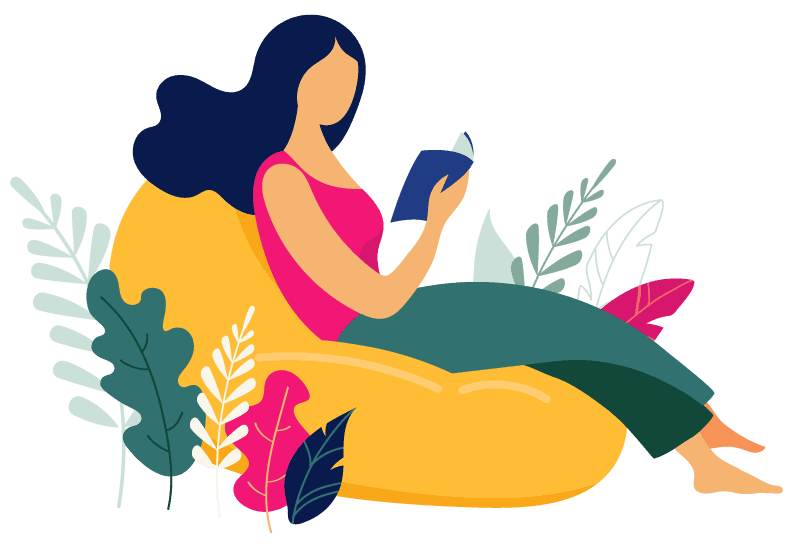 illustration of a woman sitting on a beanbag chair - Corelife Wellness Blog