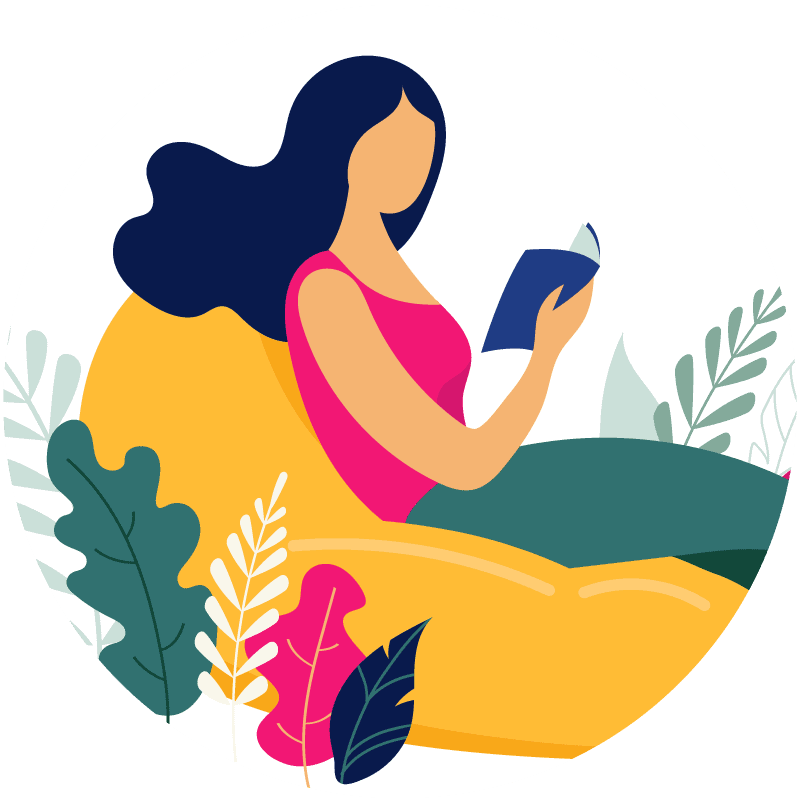 Illustration of a woman relaxing and reading a book - Corelife Wellness