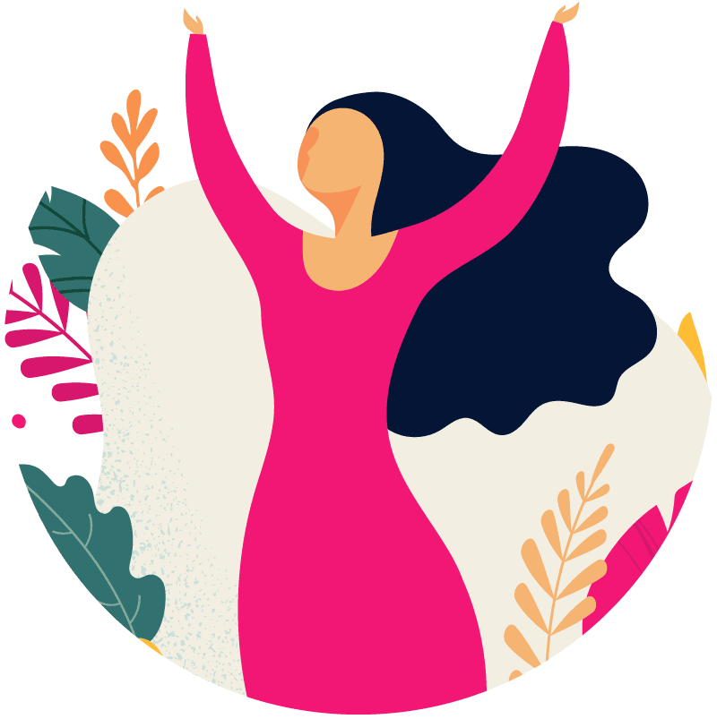 Illustration of a woman with raised hands - Corelife Wellness