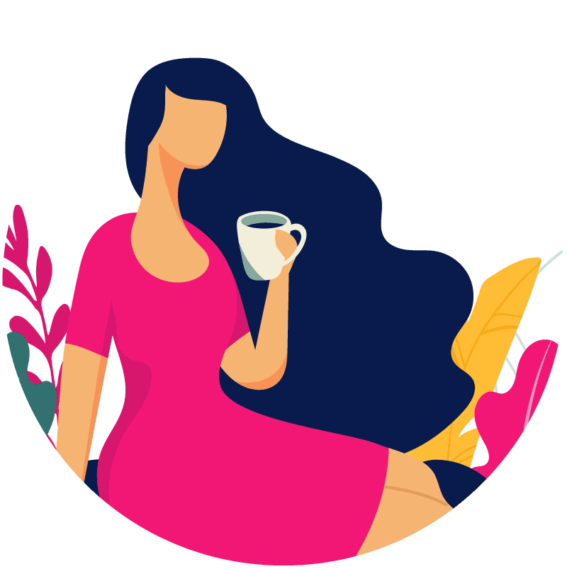 Illustration of a woman drinking coffee - Corelife Wellness