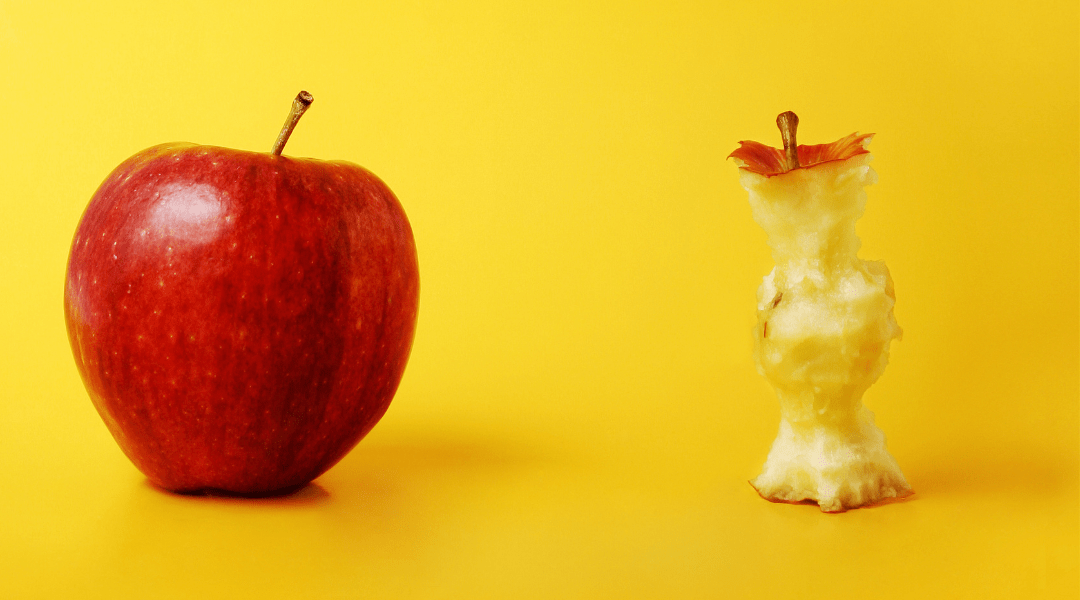 red apple and apple core - why core fitness is so important