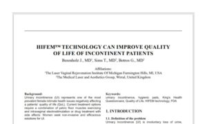 HIFEM™ Technology can Improve Quality of Life in Incontinent Patients
